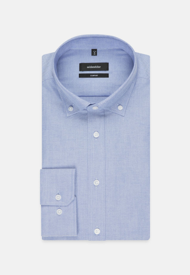 Bügelleichtes Oxford Business Hemd in Comfort mit Button-Down-Kragen in Hellblau |  Seidensticker Onlineshop