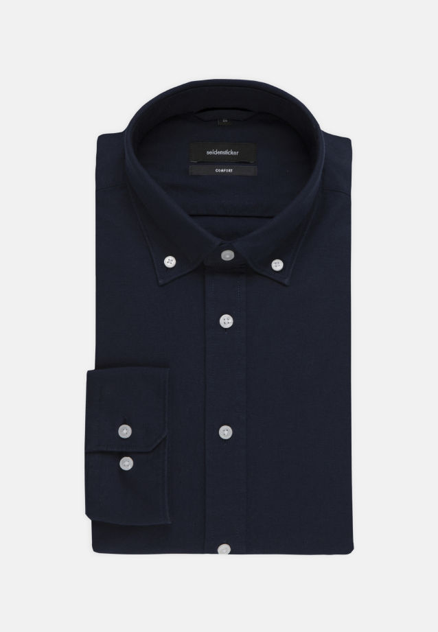 Bügelleichtes Oxford Business Hemd in Comfort mit Button-Down-Kragen in Dunkelblau |  Seidensticker Onlineshop
