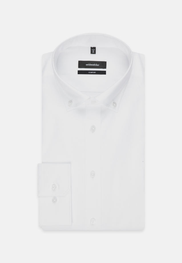 Bügelleichtes Oxford Business Hemd in Comfort mit Button-Down-Kragen in Weiß |  Seidensticker Onlineshop