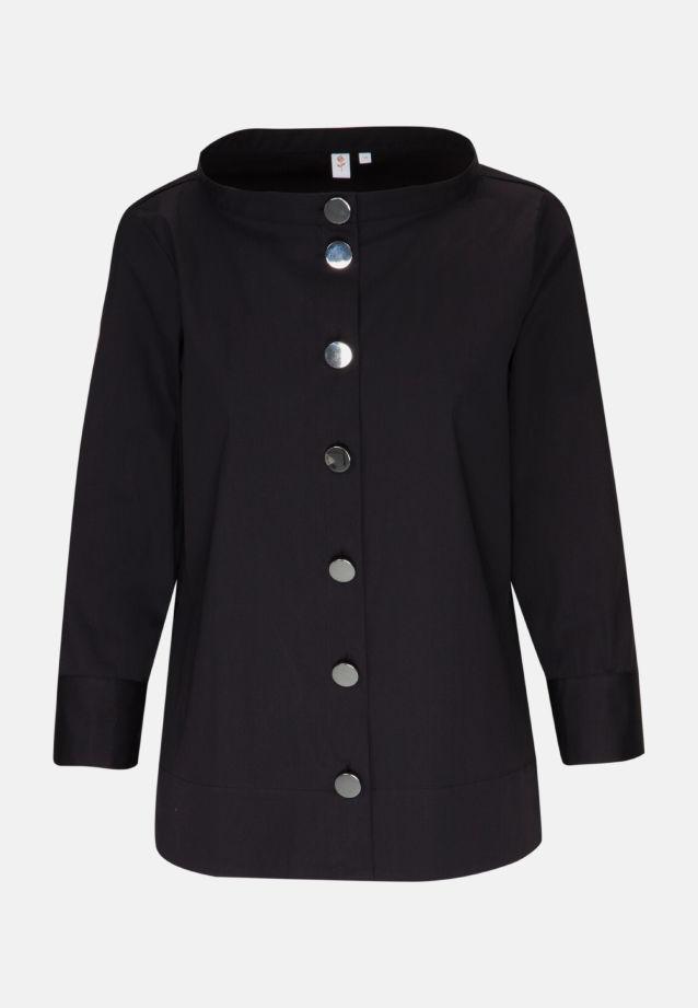 3/4 arm Poplin Stand-Up Blouse made of 81% Cotton 16% Polyamid/Nylon 3% Elastane in black |  Seidensticker Onlineshop