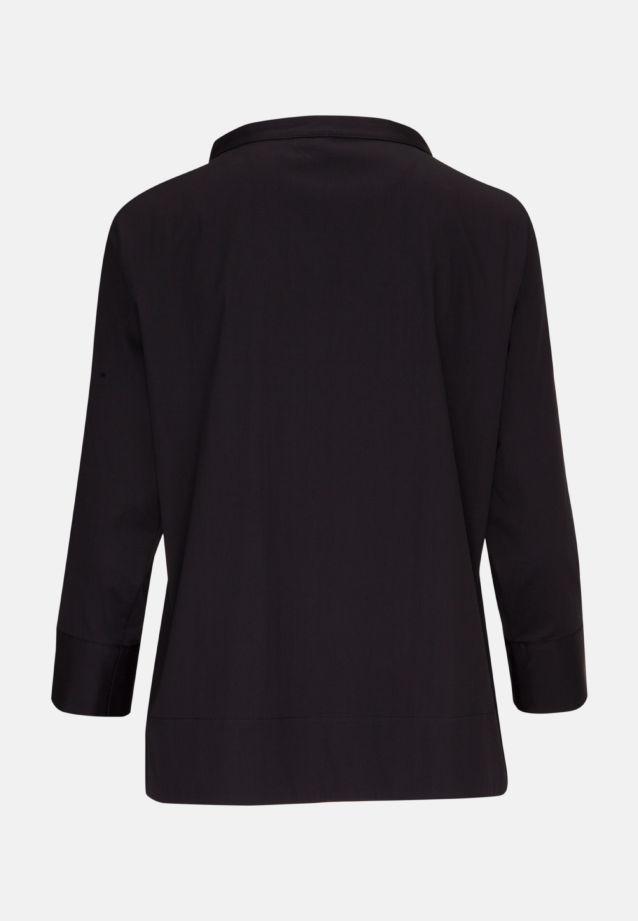 3/4 Arm Popeline Stehkragenbluse aus Baumwollmischung in Schwarz |  Seidensticker Onlineshop