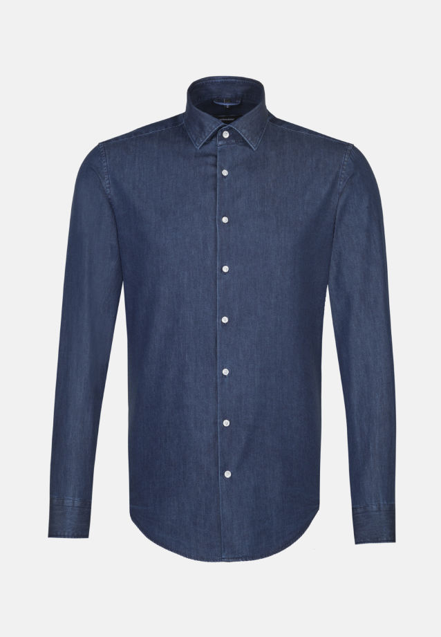 Easy-iron Denim Business Shirt in Comfort with Kent-Collar in Dark blue |  Seidensticker Onlineshop