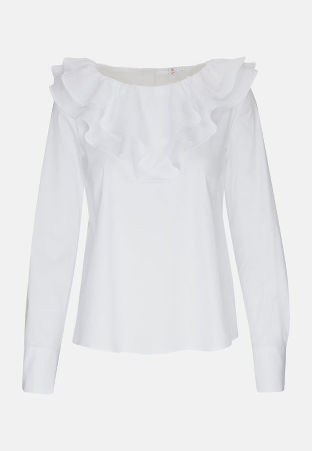 Poplin Ruched Blouse made of 81% Cotton 16% Polyamid/Nylon 3% Elastane in White |  Seidensticker Onlineshop