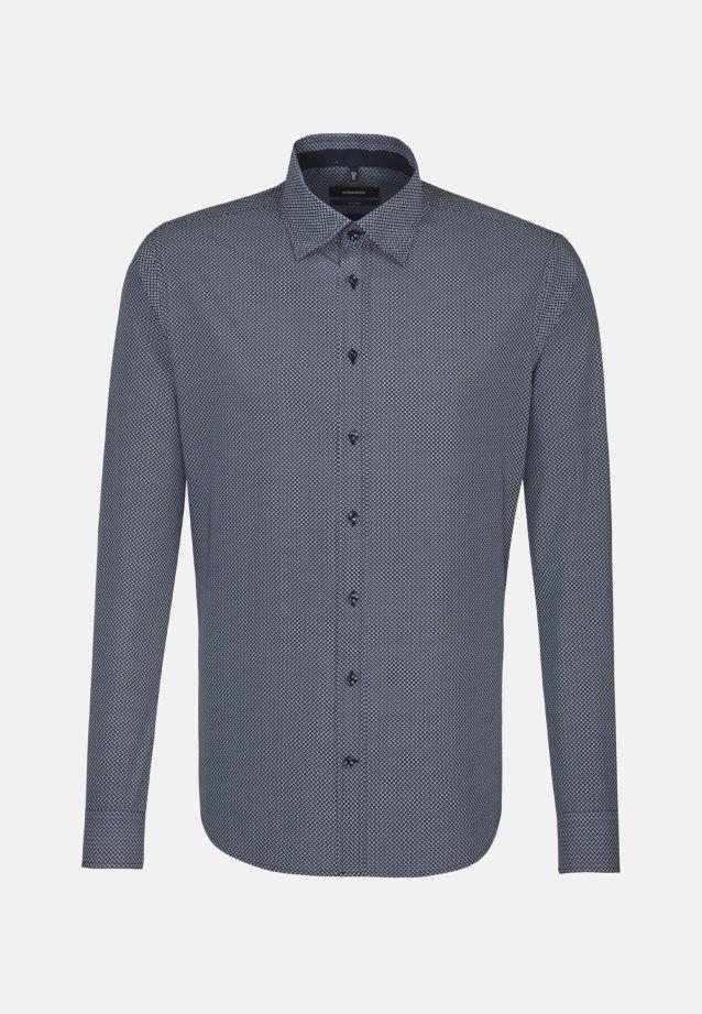Bügelleichtes Popeline Business Hemd in Tailored mit Covered-Button-Down-Kragen in blau |  Seidensticker Onlineshop
