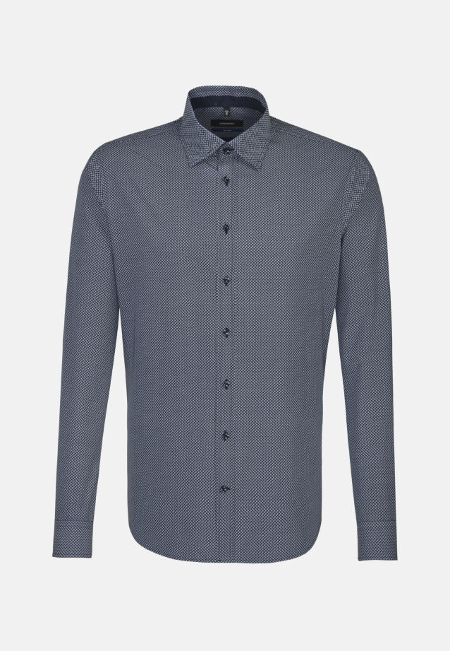 Bügelleichtes Popeline Business Hemd in Tailored mit Covered-Button-Down-Kragen in Mittelblau |  Seidensticker Onlineshop