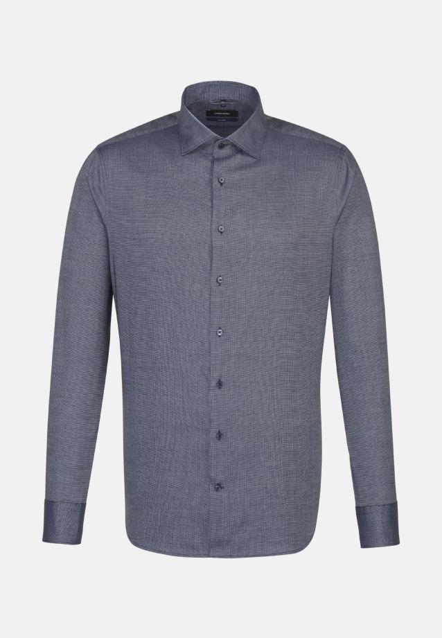 Bügelleichtes Struktur Business Hemd in Tailored mit Kentkragen in Mittelblau    Seidensticker Onlineshop