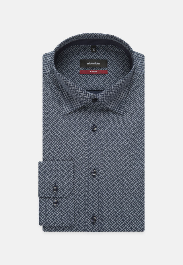 Bügelleichtes Popeline Business Hemd in Modern mit Covered-Button-Down-Kragen in Mittelblau |  Seidensticker Onlineshop