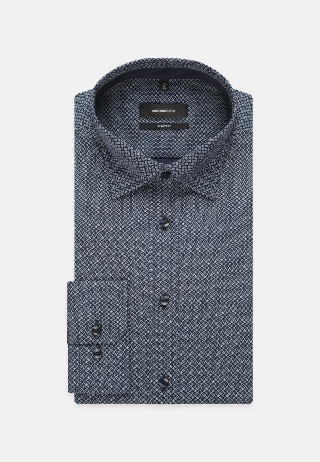 Bügelleichtes Popeline Business Hemd in Comfort mit Covered-Button-Down-Kragen in Mittelblau    Seidensticker Onlineshop