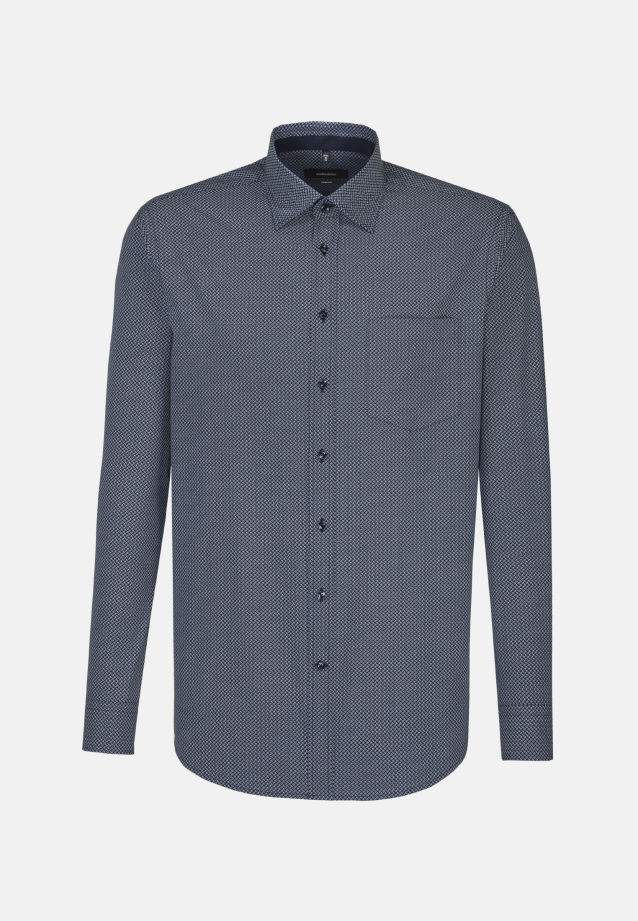 Bügelleichtes Popeline Business Hemd in Comfort mit Covered-Button-Down-Kragen in blau |  Seidensticker Onlineshop
