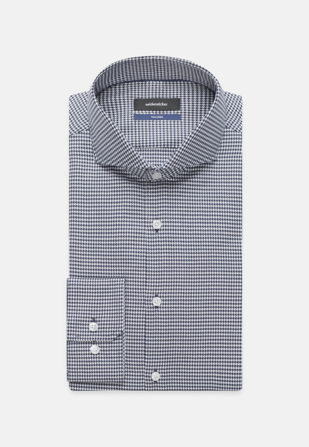Easy-iron Pepita/tooth-peg check Business Shirt in Shaped with Shark Collar in Medium blue |  Seidensticker Onlineshop