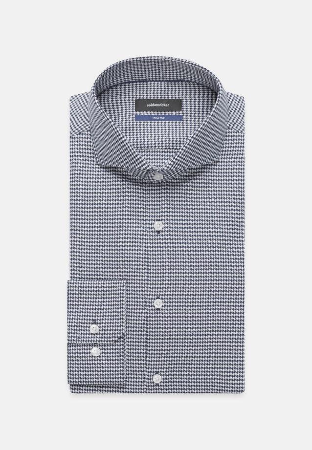 Bügelleichtes Pepita Business Hemd in Shaped mit Haifischkragen in Mittelblau |  Seidensticker Onlineshop