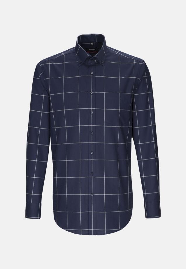 Bügelleichtes Twill Business Hemd in Modern mit Button-Down-Kragen in Dunkelblau |  Seidensticker Onlineshop