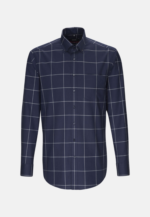 Easy-iron Twill Business Shirt in Modern with Button-Down-Collar in Dark blue |  Seidensticker Onlineshop