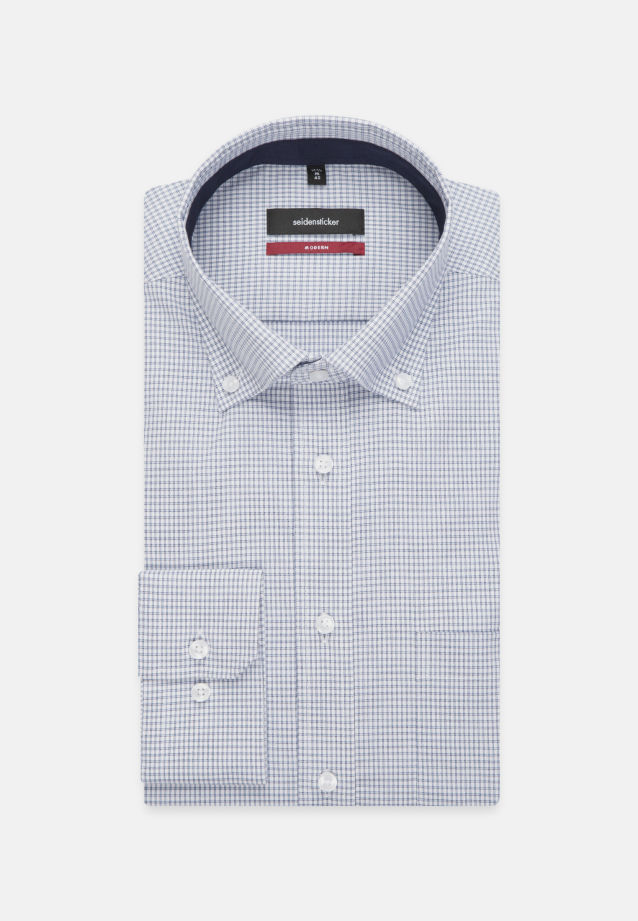 Non-iron Poplin Business Shirt in Modern with Button-Down-Collar in blau |  Seidensticker Onlineshop