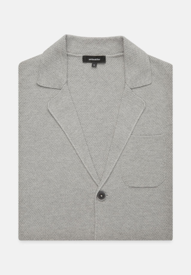 Collar Jacket made of 47% Cotton 37% Polyacryl 16% Wolle in Grey |  Seidensticker Onlineshop