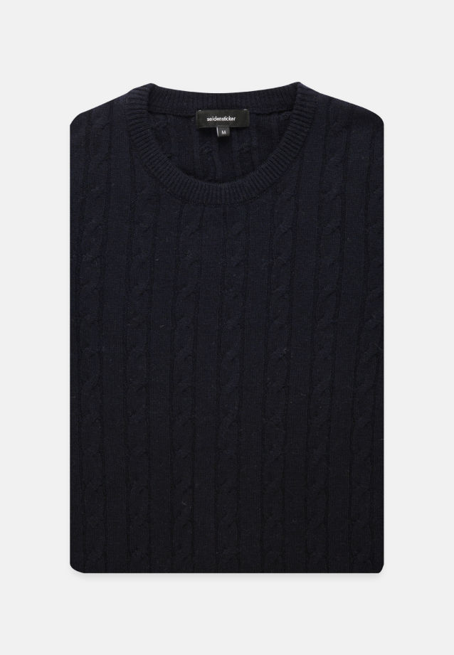 Crew Neck Pullover made of 60% Wolle 20% Polyacryl 20% Polyamid/Nylon in Dark blue |  Seidensticker Onlineshop