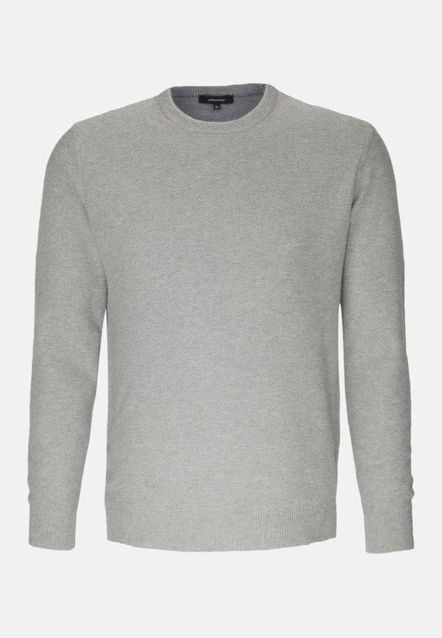 Crew Neck Pullover made of 47% Cotton 37% Polyacryl 16% Wolle in Grey |  Seidensticker Onlineshop