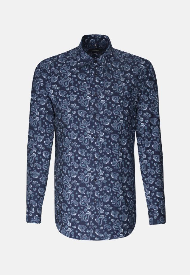 Easy-iron Poplin Business Shirt in Comfort with Covered-Button-Down-Collar in blau |  Seidensticker Onlineshop