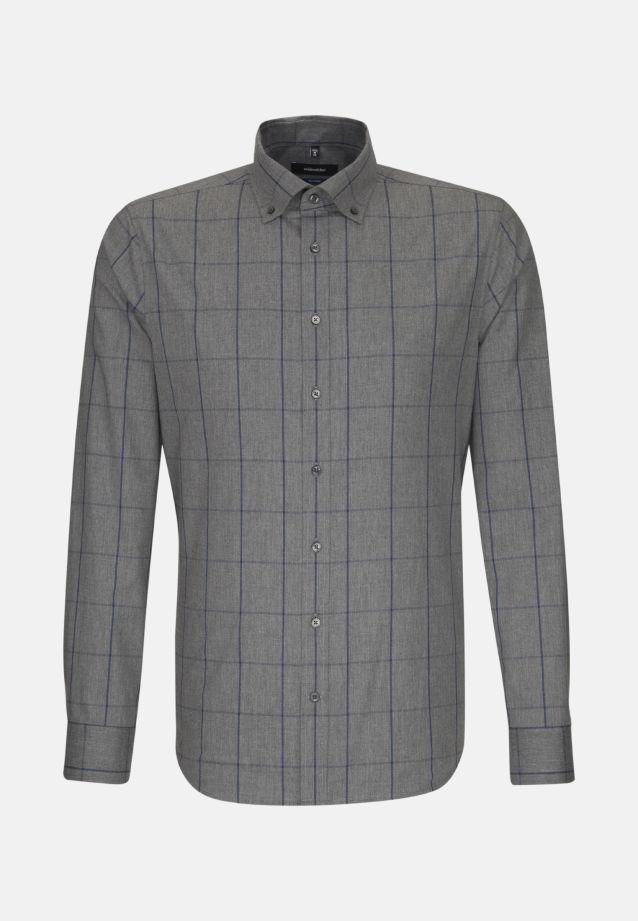 Bügelleichtes Twill Business Hemd in Shaped mit Button-Down-Kragen in Grau    Seidensticker Onlineshop