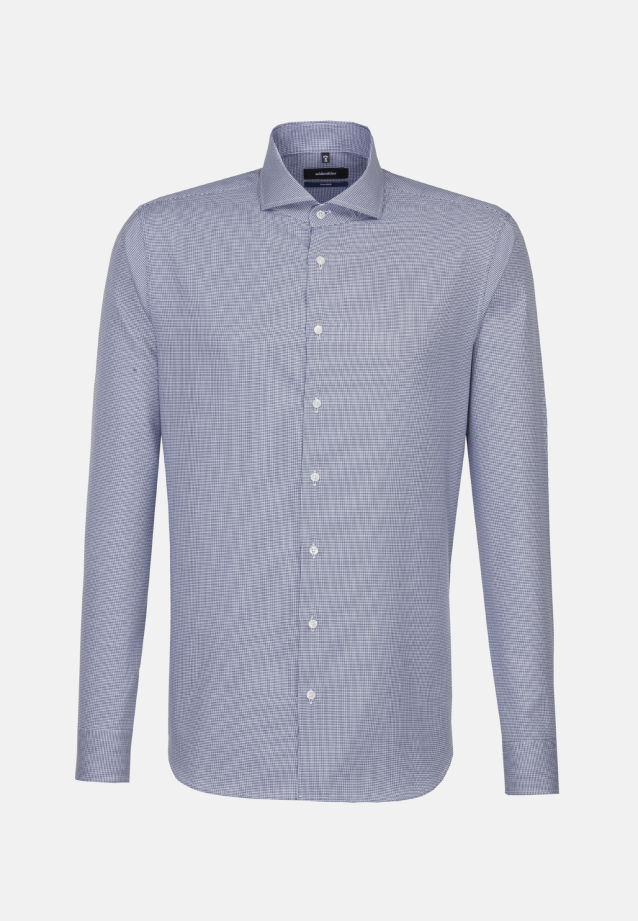 Easy-iron Structure Business Shirt in Shaped with Shark Collar in Medium blue |  Seidensticker Onlineshop