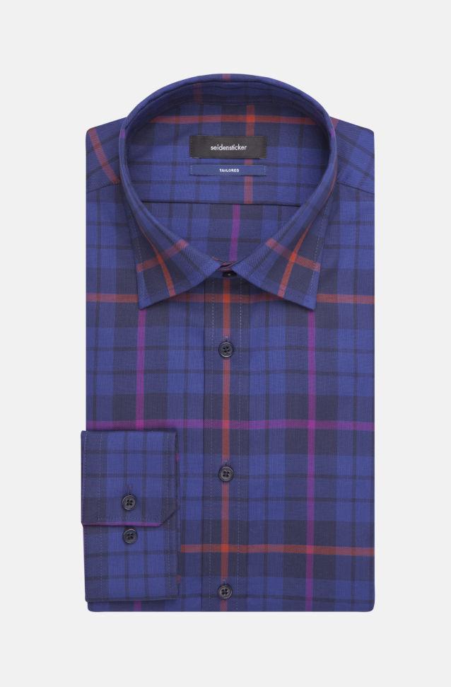 Bügelleichtes Struktur Business Hemd in Shaped mit Covered-Button-Down-Kragen in Lila    Seidensticker Onlineshop