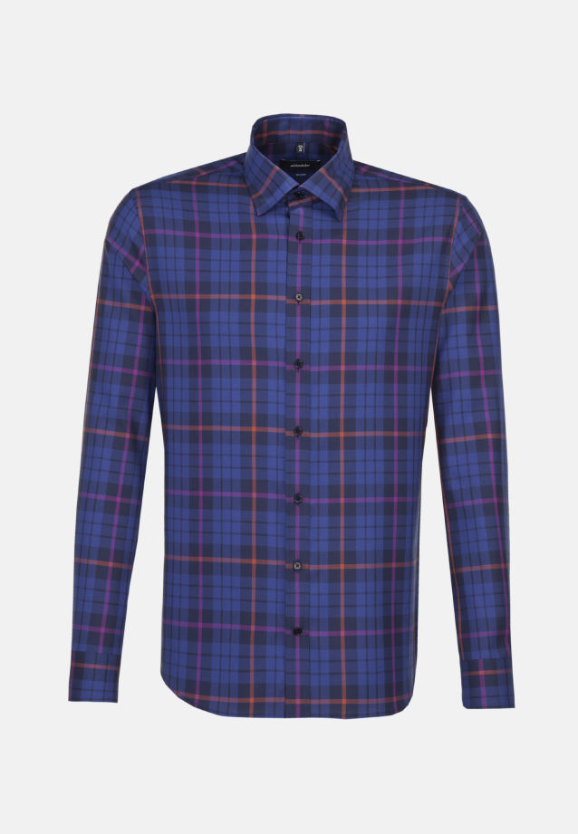 Easy-iron Structure Business Shirt in Shaped with Covered-Button-Down-Collar in Purple |  Seidensticker Onlineshop
