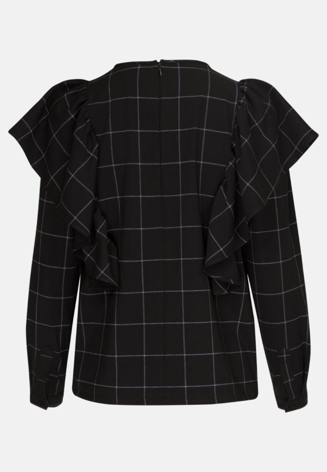 Flanell Shirtbluse aus 77% Polyester 21% Viskose 2% Elastan in Schwarz |  Seidensticker Onlineshop