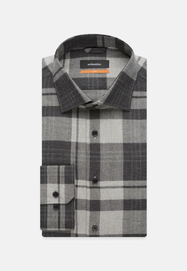 Bügelleichtes Fischgrat Business Hemd in Slim mit Kentkragen in Grau |  Seidensticker Onlineshop