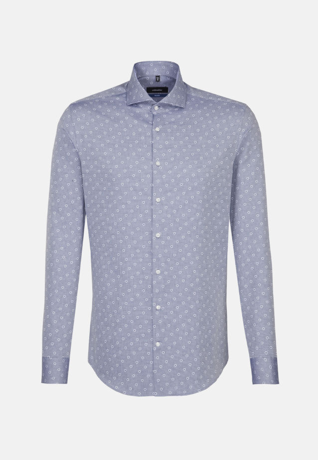 Easy-iron Jacquard Business Shirt in Shaped with Shark Collar in Medium blue |  Seidensticker Onlineshop