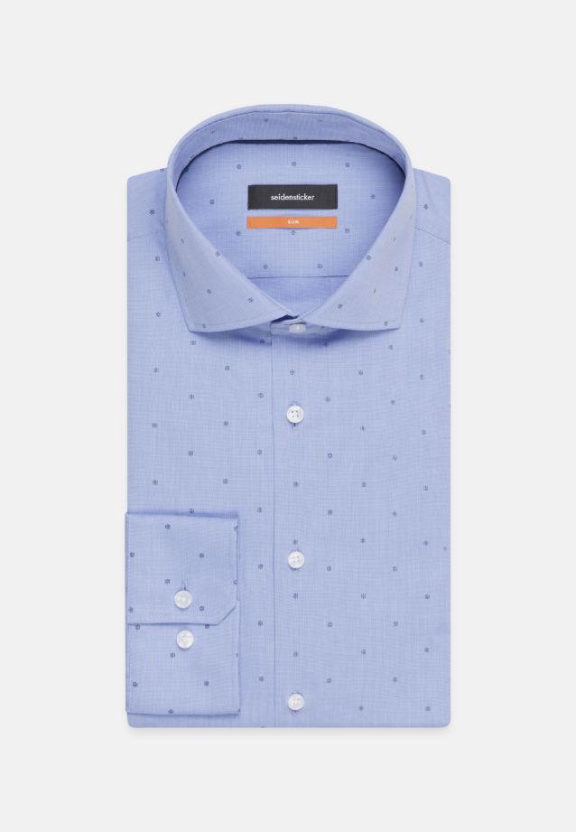 Easy-iron Jacquard Business Shirt in Slim with Kent-Collar in Medium blue |  Seidensticker Onlineshop