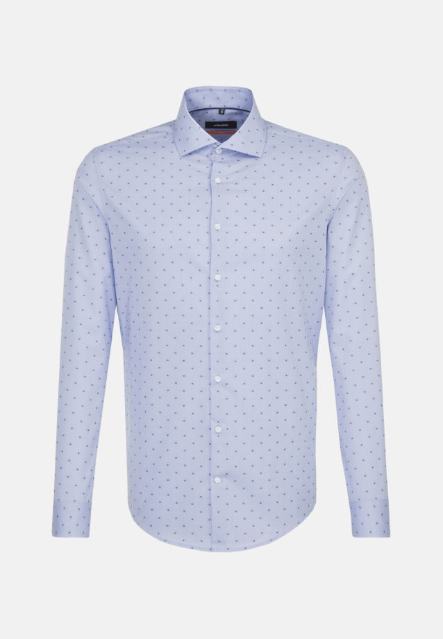 Easy-iron Jacquard Business Shirt in Slim with Kent-Collar in Medium blue    Seidensticker Onlineshop