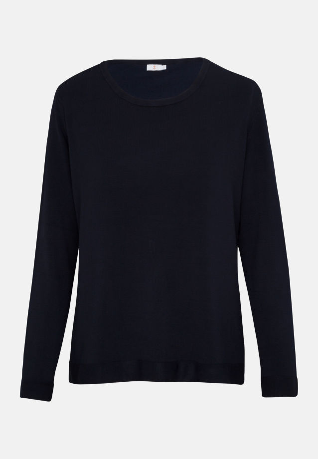 Crew Neck Pullover made of 83% Viskose 17% Polyamid/Nylon in Dark blue |  Seidensticker Onlineshop