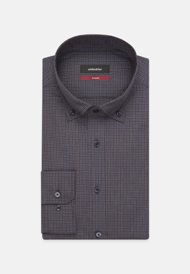 Bügelleichtes Popeline Business Hemd in Regular mit Button-Down-Kragen in Braun |  Seidensticker Onlineshop