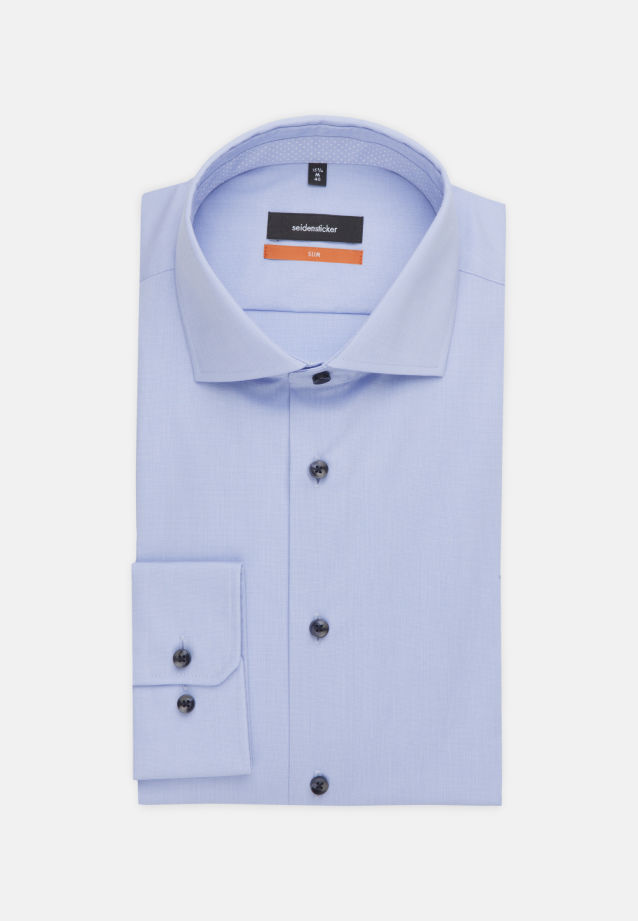 Non-iron Poplin Business Shirt in Slim with Kent-Collar in Light blue |  Seidensticker Onlineshop