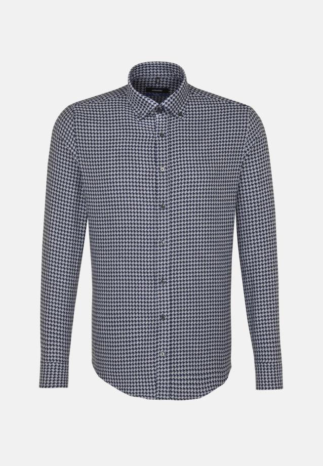 Bügelleichtes Hahnentritt Business Hemd in Tailored mit Button-Down-Kragen in Dunkelblau    Seidensticker Onlineshop