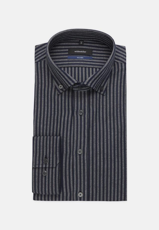 Bügelleichtes Twill Business Hemd in Tailored mit Button-Down-Kragen in Dunkelblau |  Seidensticker Onlineshop