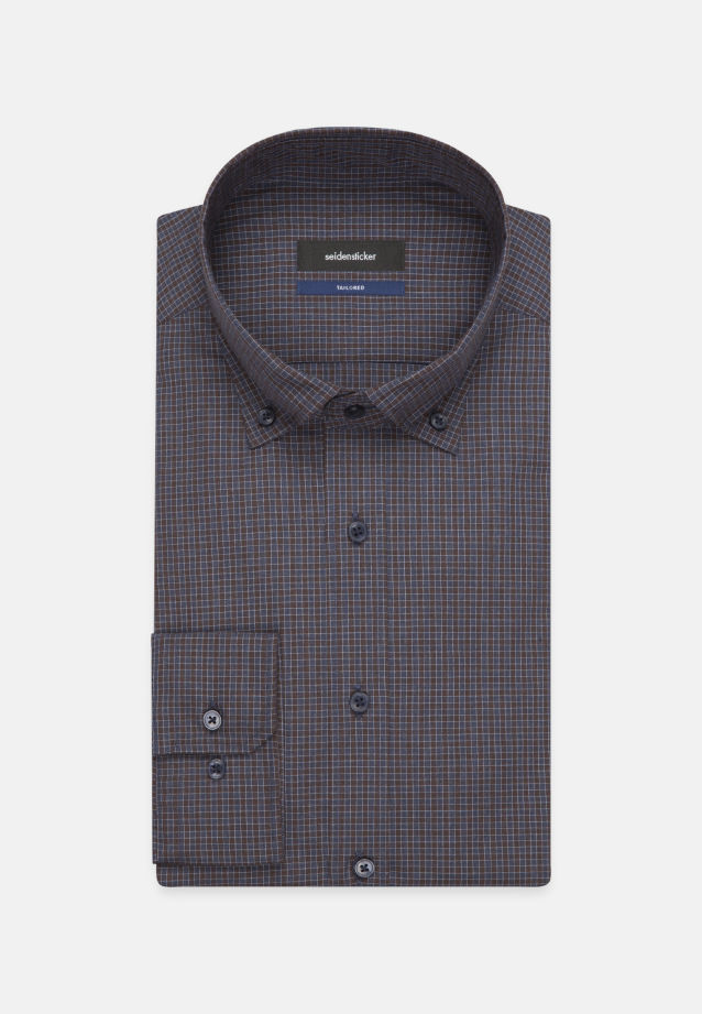 Bügelleichtes Popeline Business Hemd in Shaped mit Button-Down-Kragen in Braun |  Seidensticker Onlineshop