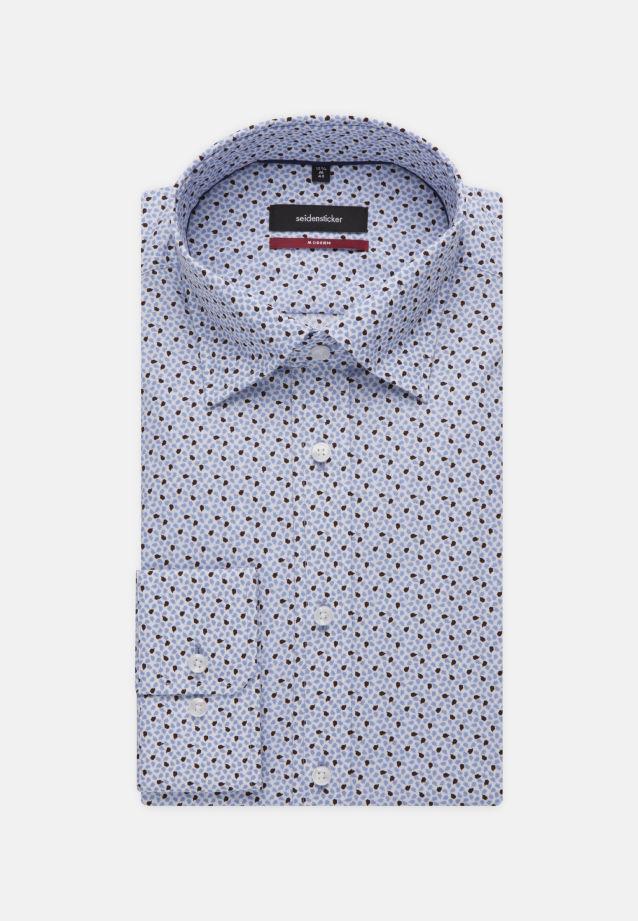 Bügelleichtes Popeline Business Hemd in Modern mit Covered-Button-Down-Kragen in blau |  Seidensticker Onlineshop