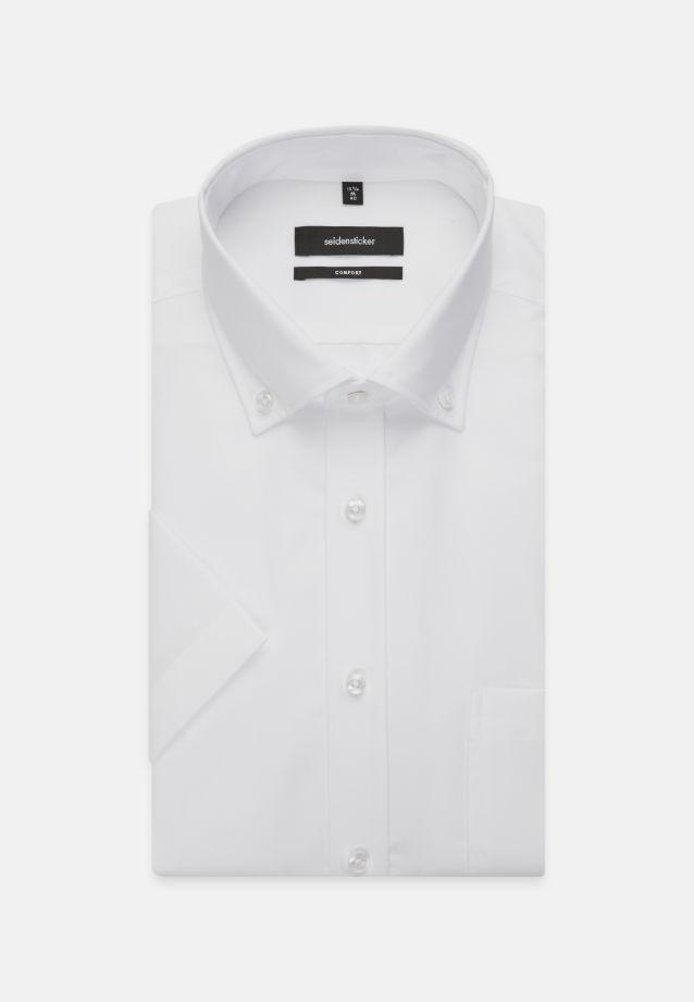 Non-iron Poplin Short arm Business Shirt in Comfort with Button-Down-Collar in weiß |  Seidensticker Onlineshop