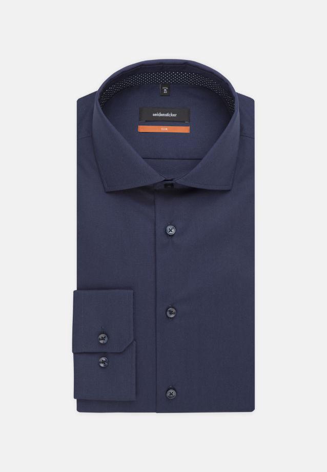 Bügelfreies Fil a fil Business Hemd in Slim mit Kentkragen und extra langem Arm in Dunkelblau |  Seidensticker Onlineshop