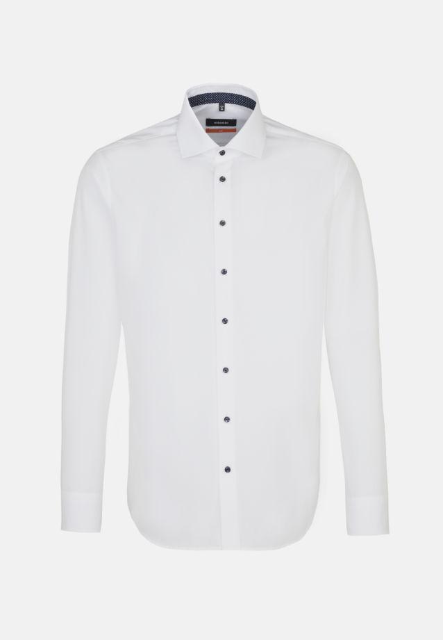 Bügelfreies Fil a fil Business Hemd in Slim mit Kentkragen und extra langem Arm in Weiß |  Seidensticker Onlineshop