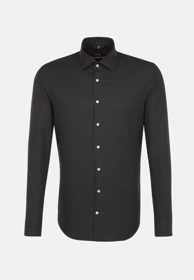 Bügelleichtes Struktur Business Hemd in Slim mit Kentkragen in Grau    Seidensticker Onlineshop