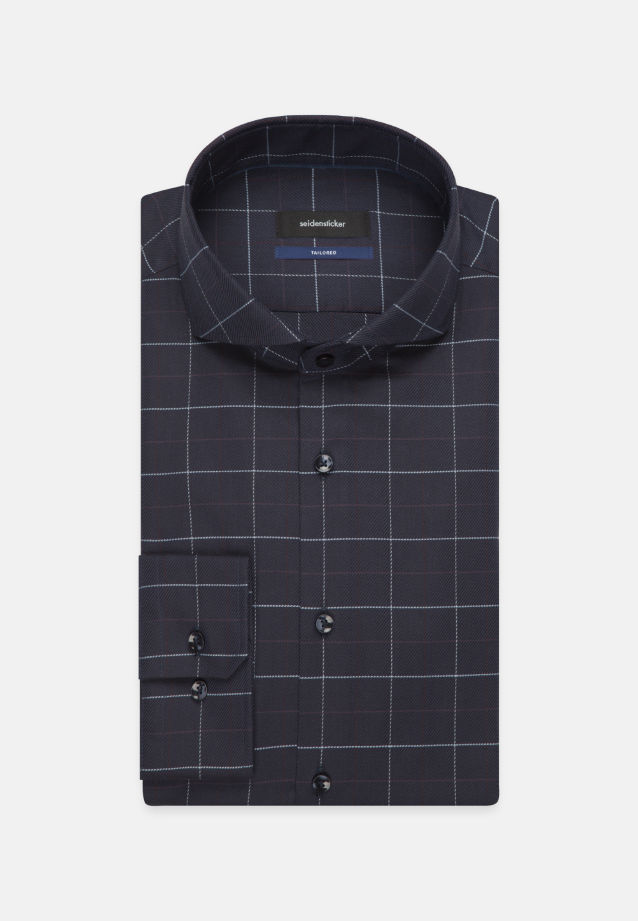 Easy-iron Twill Business Shirt in Shaped with Shark Collar in Dark blue |  Seidensticker Onlineshop