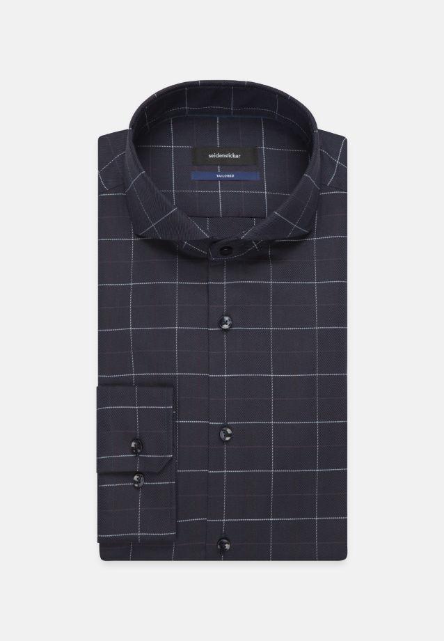 Bügelleichtes Twill Business Hemd in Shaped mit Haifischkragen in Dunkelblau |  Seidensticker Onlineshop