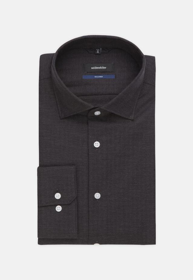 Bügelleichtes Struktur Business Hemd in Tailored mit Kentkragen in Grau    Seidensticker Onlineshop