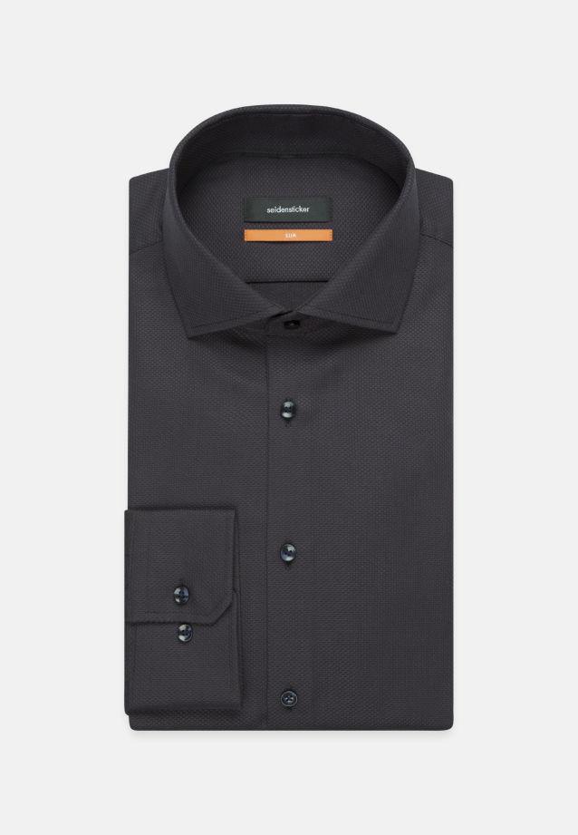 Bügelleichtes Struktur Business Hemd in Slim mit Kentkragen in Schwarz |  Seidensticker Onlineshop