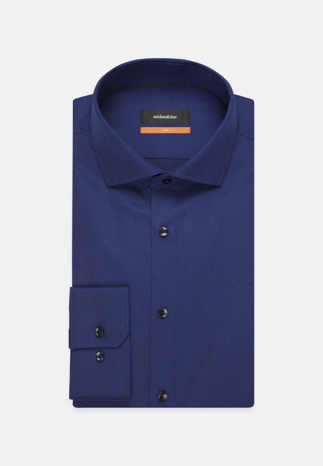 Bügelleichtes Struktur Business Hemd in Slim mit Kentkragen in Mittelblau    Seidensticker Onlineshop