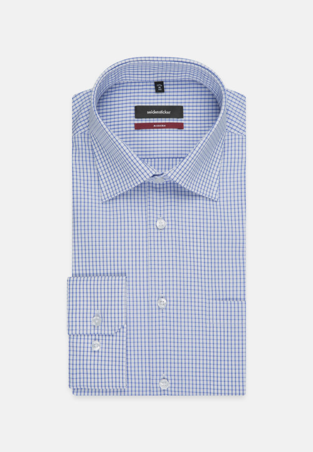 Non-iron Poplin Business Shirt in Modern with Kent-Collar and extra long arm in Medium blue |  Seidensticker Onlineshop