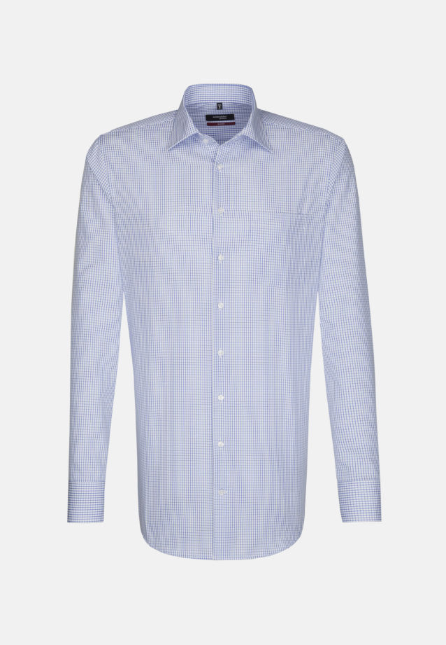 Non-iron Poplin Business Shirt in Regular with Kent-Collar and extra long arm in Medium blue |  Seidensticker Onlineshop