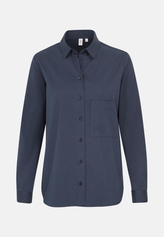 Poplin Shirt Blouse made of 81% Cotton 16% Polyamid/Nylon 3% Elastane in dunkelblau |  Seidensticker Onlineshop
